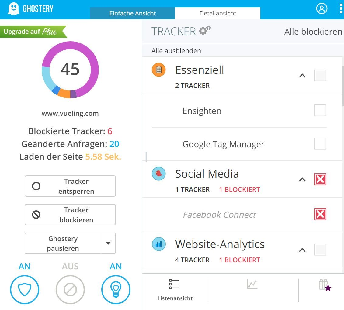 Website Cookie Analyse mit Ghostery