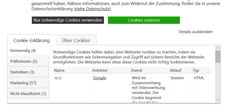 """Aufgeklapptes Cookie Banner durch Klick auf """"Details anzeigen"""""""