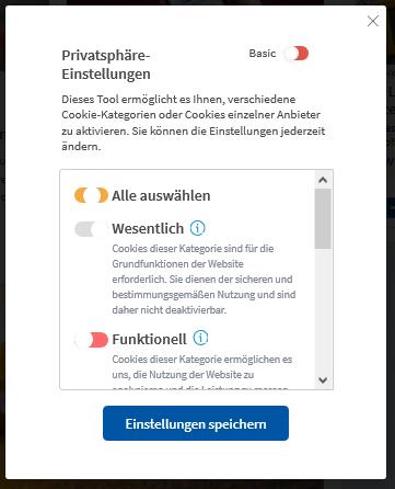 """heise cookie consent banner unter """"Konfigurieren"""""""