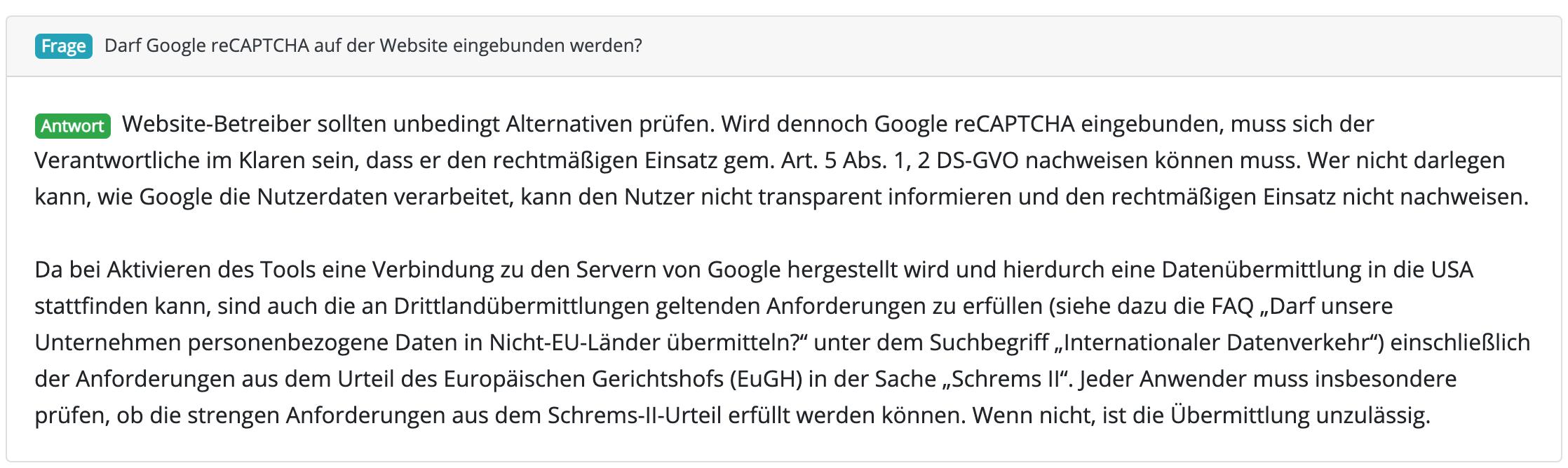 Google reCaptcha und Datenschutz